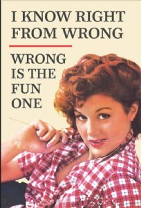 I Know Right From Wrong.  Wrong Is The Fun One... funny fridge magnet       (ep)
